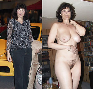 Amateur mature lady before and after