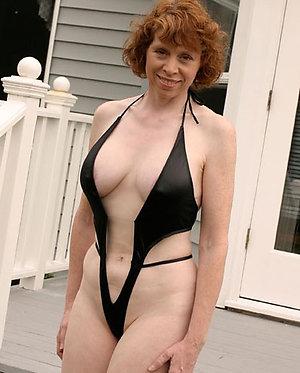 Nude mature woman in bikini