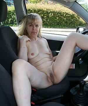 Wretched mature in car nude pics