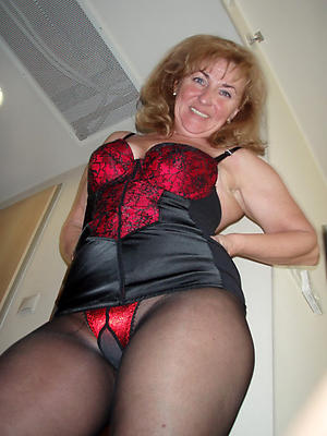 Fresh mature woman in pantyhose injection
