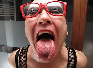 Busty horny mature mom with glasses