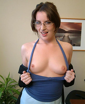 Naughty amateur mature girl with glasses
